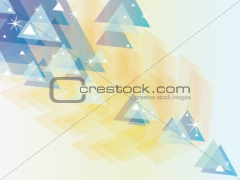 Abstract blue yellow triangles background