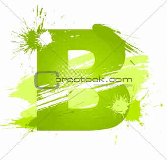 Green abstract paint splashes font. Letter B