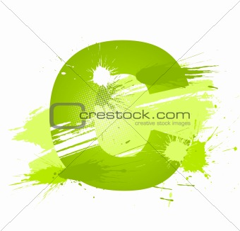 Green abstract paint splashes font. Letter C