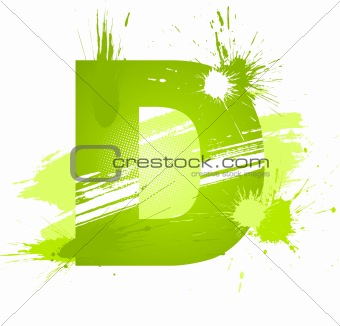 Green abstract paint splashes font. Letter D