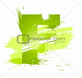 Green abstract paint splashes font. Letter F