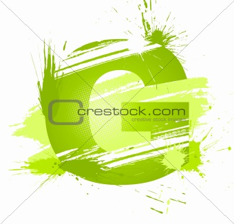 Green abstract paint splashes font. Letter G