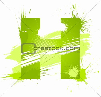 Green abstract paint splashes font. Letter H