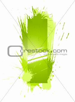 Green abstract paint splashes font. Letter I