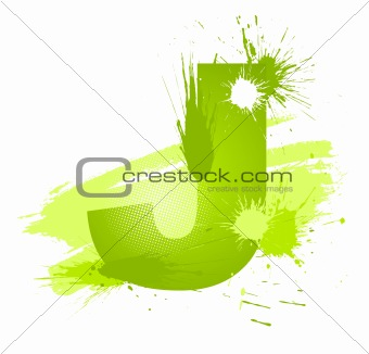 Green abstract paint splashes font. Letter J