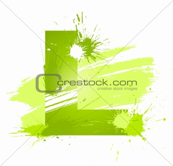 Green abstract paint splashes font. Letter L
