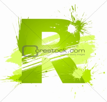 Green abstract paint splashes font. Letter R