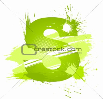 Green abstract paint splashes font. Letter S