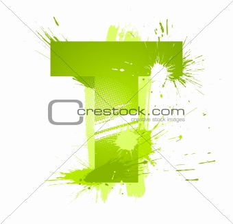 Green abstract paint splashes font. Letter T