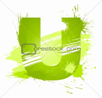 Green abstract paint splashes font. Letter U