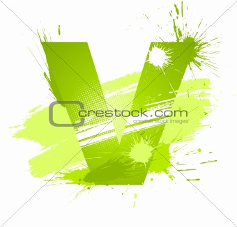 Green abstract paint splashes font. Letter V
