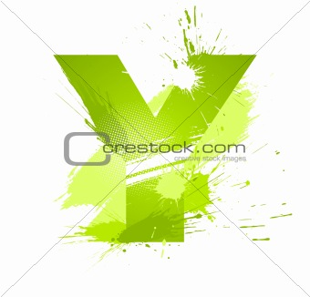 Green abstract paint splashes font. Letter Y