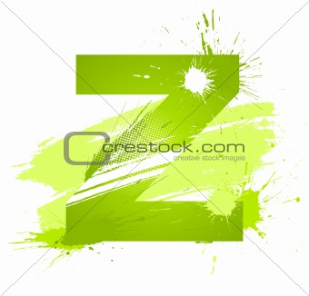Green abstract paint splashes font. Letter Z