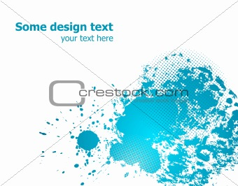 Blue abstract paint splashes illustration. Vector
