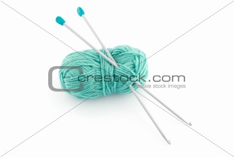 Green knitting wool