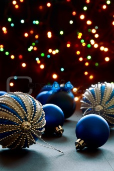 Beautiful Christmas balls on the background lights.