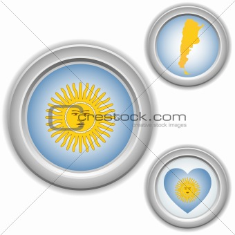 Argentina Buttons with heart, map and flag