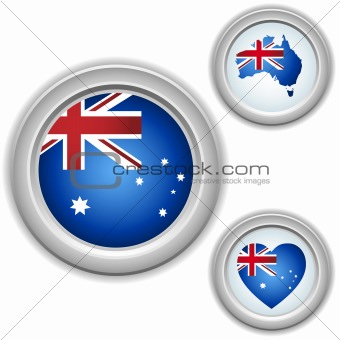 Australia Buttons with heart, map and flag
