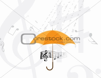abstract rain of music notes
