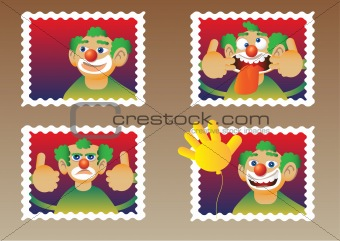 Four funny clown