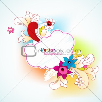 Abstract background with flowers and place for your text.