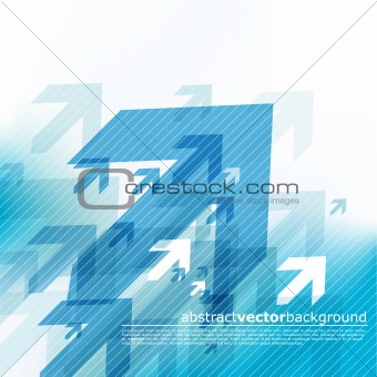 Abstract blue background with arrows.