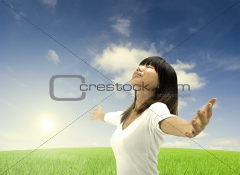 asian female freedom concept photo