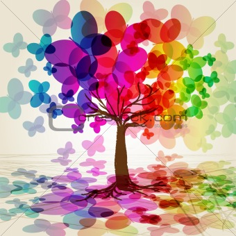 Abstract colorful Tree. Vector.