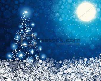 Abstract winter blue background, with stars, moon, snowflakes an