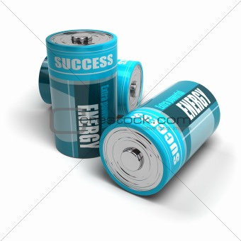 battery concept, energy reaching success, positive energies