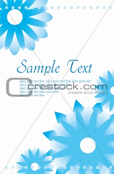 Greetings card with blue flowers