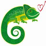 Fairytale isolated chameleon with Valentine.