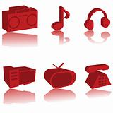 3d red multimedia icons set
