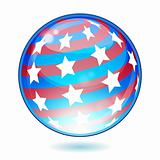 USA America shiny button flag - vector illustration. Isolated ab
