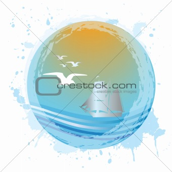 Abstract aqua sphere with sea landscape
