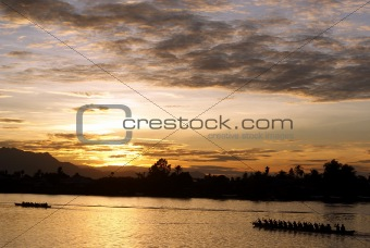 sunset at sarawak river