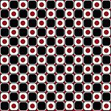 Abstract background in red and black circles