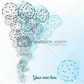 Abstract background with blue and black spheres