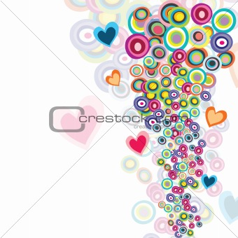 Abstract background with circles and hearts