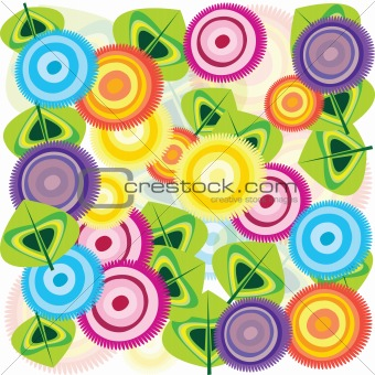 Abstract background with colored flowers and leaves