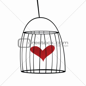 Abstract cage with red heart in it