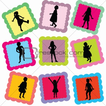 Abstract cards with kids silhouettes on it