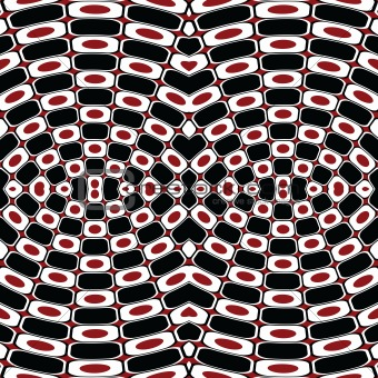 Abstract optical effect with black, white and red