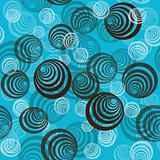 Abstract pattern  with circles on blue background