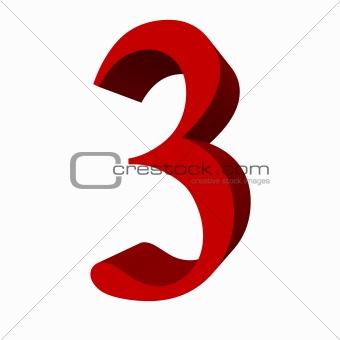 3D digit : 3 (three)