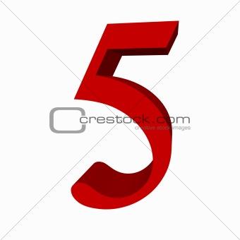 3D digit : 5 (five)