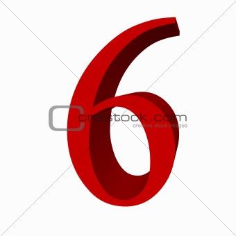 3D digit : 6 (six)