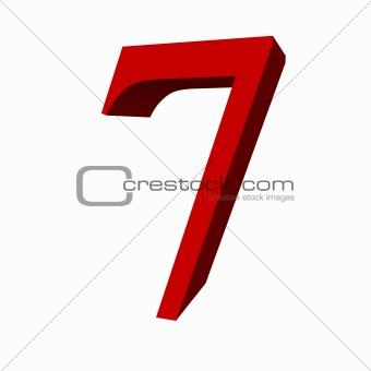 3D digit : 7 (seven)