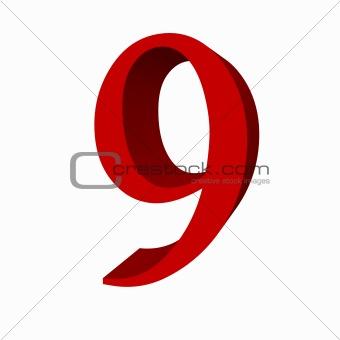 3D digit : 9 (nine)