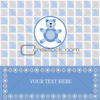 Baby greeting card with blue bear